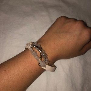 Pink Leather Bracelet with Jewels